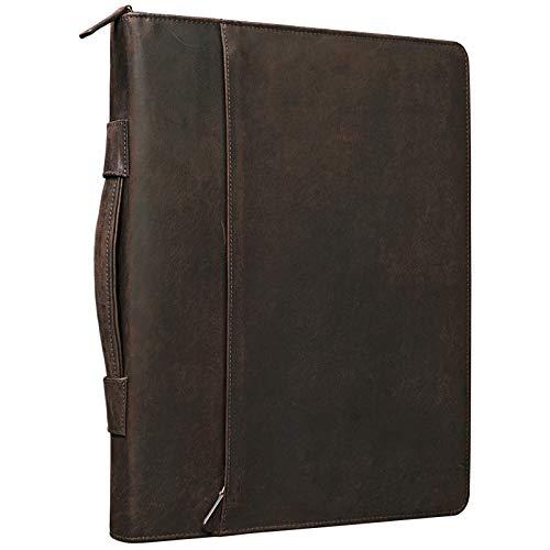 STILORD 'Justus' Portafolio de Piel Vintage con asa Portadocumentos o Carpeta de conferencias o Negocios DIN A4 para Tablet/MacBook 13,3' de auténtico Cuero, Color:marrón - Caoba
