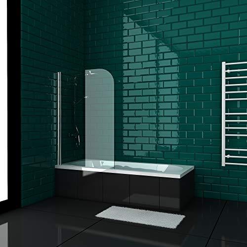 Alpenberger Symmetric Badewanne (170x80/180x80) mit Duschabtrennung Set | Beidseitige Nanobeschichtung aus 5 mm Sicherheitsglas (ESG) | Rechteck-Badewanne | Körperformbadewanne weiß | Acryl-Wanne |