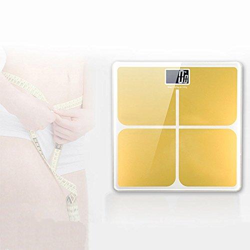 Accrie Báscula digital de baño, equilibrio de peso corporal de precisión con pantalla LCD extra grande, 180 kg/400 lb báscula de peso y tecnología Step-On color dorado de lujo