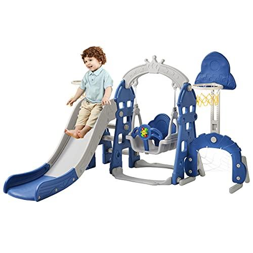 Juego de toboganes para niños, tobogán para el hogar, tobogán para niños 5 en 1 con columpio y aro de baloncesto, juego de toboganes para niños de 3 a 6 años,Blue