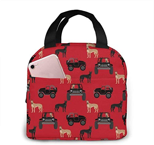 Great Dane in Jeeps Cute Dogs Black and Red Lunch Bag for Women Girls Kids Insulated Picnic Pouch Gourmet Tote Cooler Warm Pouch for School Work Office