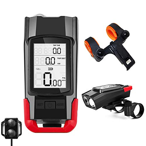 Luz Bicicleta con CuentakilóMetros VelocíMetro Computadora para Bike Impermeable Recargable USB,4400 mAh...