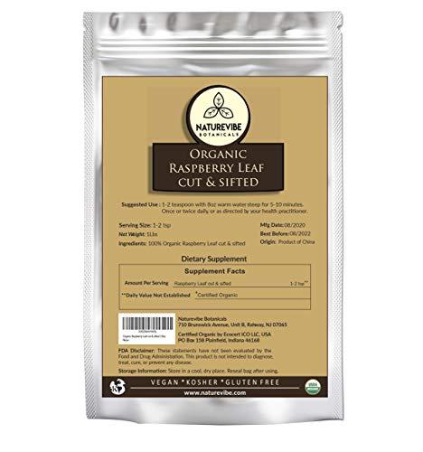 Naturevibe Botanicals Organic Raspberry Leaf cut & sifted, 1lb   USDA Certified Organic (16 ounces)