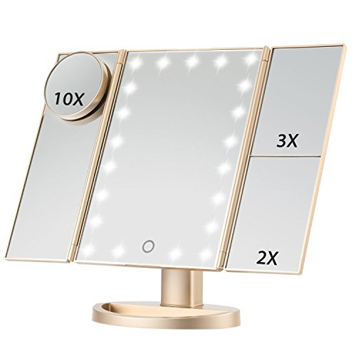 Magicfly Vanity Mirror Lighted Makeup Mirror 10X 3X 2X 1X Magnifying Mirror with 21 LED Lights, Trifold Mirror with Touch Screen, Adjustable Brightness & Stand, Dual Power Supply Mode, Gold