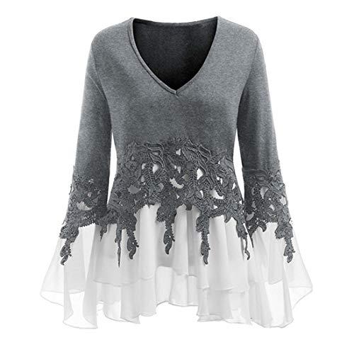 Hemd Damen Sexy Temperament V Ausschnitt Shirt Damen Elegant Locker Stretch Irregular...
