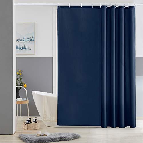 Furlinic Duschvorhang 180x180 Textil für Badewanne und Dusche in Badezimmer, Duschvorhänge aus Stoff, Anti-schimmel Waschbar und Wasserdicht, Dunkelblau mit 12 Duschvorhangringe.