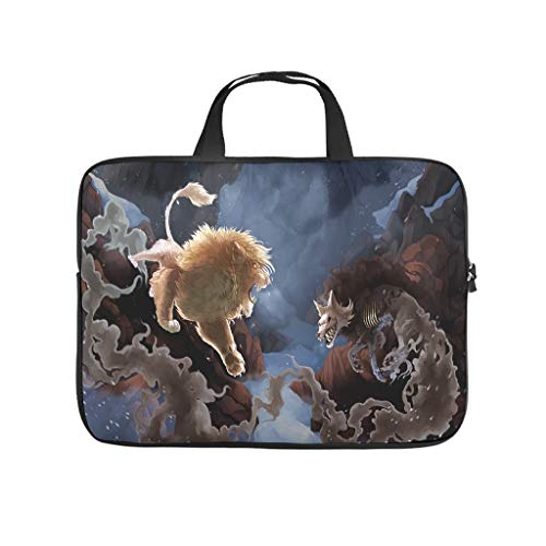 demon lion fighting fantasy creatures fantasy Laptop bag Design Laptop Case Bag Colorful Wear-Resistant Computer Protective Bag with Portable Handle for Women Men white 10 zoll