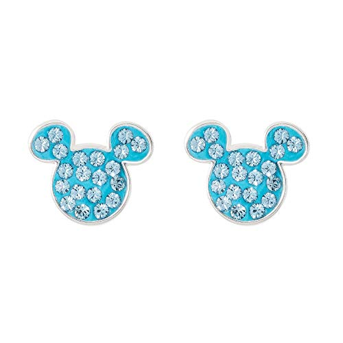 Disney Mickey Mouse Birthstone Jewelry for Women, Sterling Silver Pave Crystal Stud Earrings (More Colors Available), March