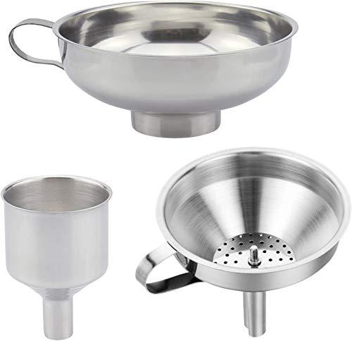 colador embudo Set, 3 unidades, diseño de juego de embudos, Acero Inoxidable Embudo de Mermelada,ideal para transferencia de líquido, ingredientes y polvo, se puede lavar en lavavajillas