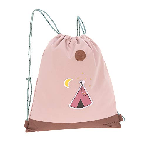 LÄSSIG Kinder Turnbeutel mit Kordelzug Rucksackfunktion Sportbeutel Schule Kindergarten/Mini String Bag, Adventure Tipi