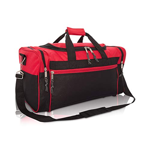 DALIX Sporttasche, 48,3 cm, Schwarz / Rot / Pink / Violett / Marineblau / Grau / Blau, rot (Rot) - DF-019-Red