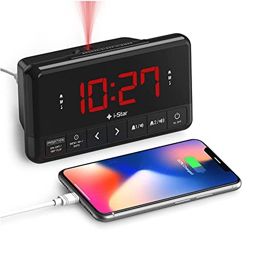 Projection Alarm Clock, Bedside Alarm Clock Radio Non Ticking with USB...