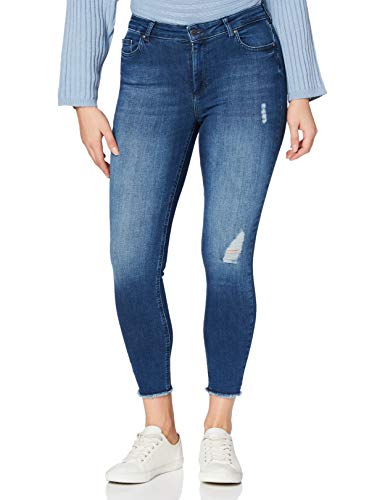 ONLY Damen onlBLUSH MID ANK RAW JEANS REA2077 NOOS Skinny Jeans, Blau (Medium Blue Denim Medium Blue Denim), S / 30L