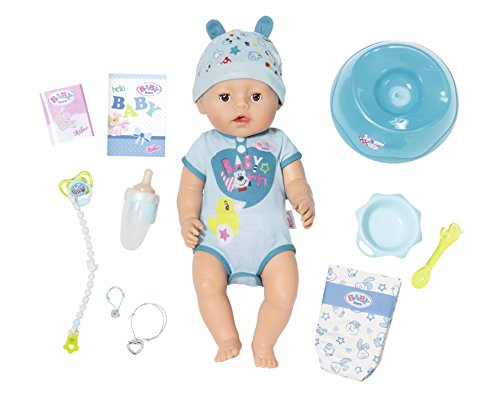 Zapf Creation 824375 BABY Born Soft Touch Boy Brown Eyes Puppe 43 cm, blau