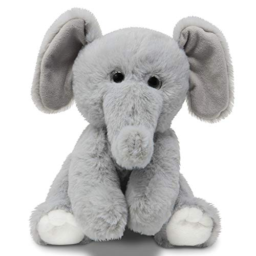 Fluffuns Baby Elephant Plush Stuffed Animal Toy - Plush Stuffed Elephant Animals Toys for Babies - 9 Inch Height (Gray)