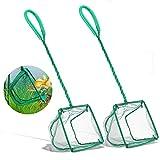 DSSPORT 2 PCS Aquarium Fish Nets,4 Inch Quick Catch Mesh Nylon Fishing Nets with Plastic Handle Green