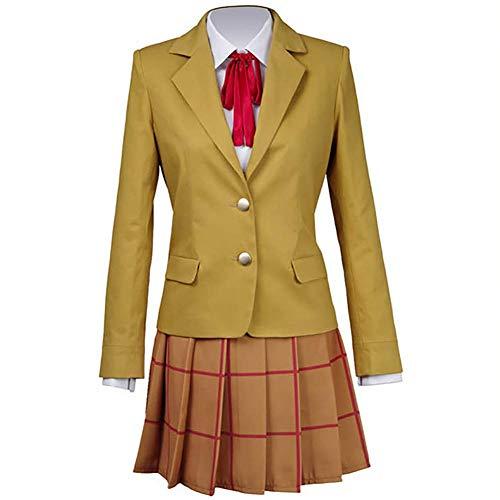 IFANSTYLE Anime Prison School Hanazawa Kana Cosplay Kostüm Halloween Karneval Party Damen High School Uniform Faltenrock Outfit,Gelb,M