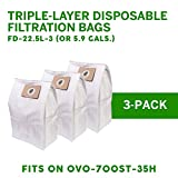 Nadair OVO Central Vacuum triple layer disposable filtration Bags, 22.5L/ 5.81 Gal. for OVO-700ST-35H, 22.5 L, White