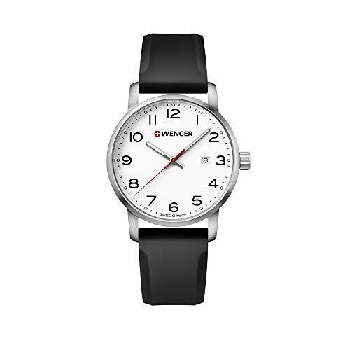 Wenger Hombre Avenue - Reloj Suizo de Cuarzo analógico de Acero Inoxidable/Silicona 01.1641.103