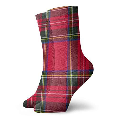 HOKZONB Red Plaid Scottish Red Tartan Red Kilt Plaid Pattern Nerd Girl Skirt, Plaid School Girl Mini Skirt Socks For Men Running,Casual,walking Socks Ladies 30cm/11.8inch