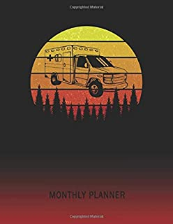Monthly Planner: Ambulance Van | 2 Year Planning for Jan 2020 to Dec 2021 | Retro Vintage Sunset Cover | January 20 - December 21 | Planning Organizer ... | Plan Days, Set Goals & Get Stuff Done