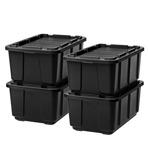 IRIS USA UTB-27 27 Gallon Utility Tough Tote, 4 Pack, 27 GAL, Black/Black, 4 Piece