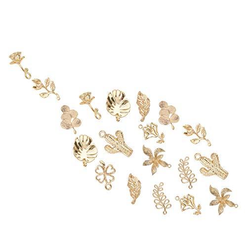 SUNNYCLUE 1 Caja 20pcs 10 Estilos Real 18K Encantos Chapados En Oro Bulk Gold Flower Cactus Colgantes de Trébol de Cuatro Hojas para Pendientes Collar Pulsera Joyería Suministros