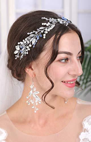 Sither Diadema de novia para boda, plata, diadema vintage para novia, accesorio para el pelo, accesorio para el pelo, diadema para novia, para fiesta de graduación