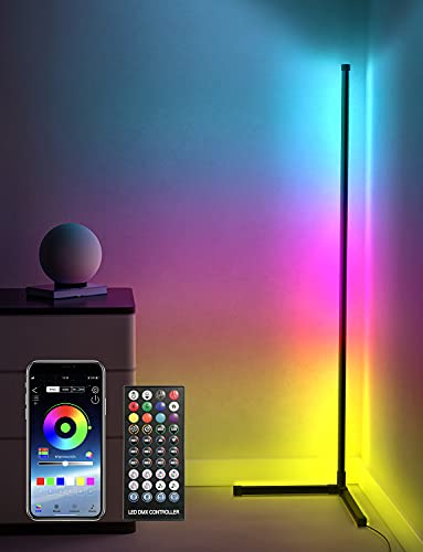 """Corner Floor Lamp LED RGB Color Changing Lamp with Bluetooth APP and Remote Control,61"""" Tall Dimmable Standing Smart Minimalist Lamp, Ambient Mood Night Light for Living Room, Bedroom,Gaming Room"""