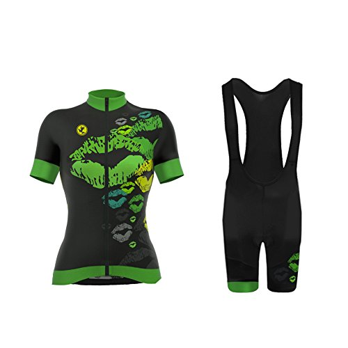 Uglyfrog Wear Radtrikot Damen Fahrradbekleidung Set Outdoor Sports Kurzarm Radfahren Jersey + Radfahren Latzhose Bib Shorts im Sommer (XS~6XL,Option:Trägerhose,3D Sitzpolster)