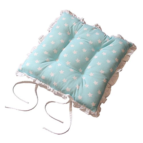 Homescapes Rüschenkissen zum Wenden 40 x 40 cm Stuhlkissen mit Bändern Stars blau Sitzkissen mit Rüschen