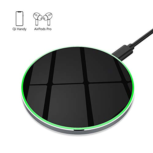 yootech Aluminium 10W kabelloses Ladegerät,Fast Wireless Charger,Qi Ladestation für iPhone 11/11 Pro/11 Pro Max/XS MAX/XR/XS/X/8/8 Plus,Galaxy S20/Note 10/S10/S9 Plus/Note 9/Note 8/S8, AirPods etc.