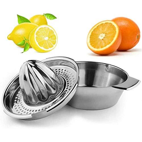 Yiyu Naranja exprimidor Manual de Acero Inoxidable de Color Naranja exprimidor exprimidor con el envase x (Color : Silver)