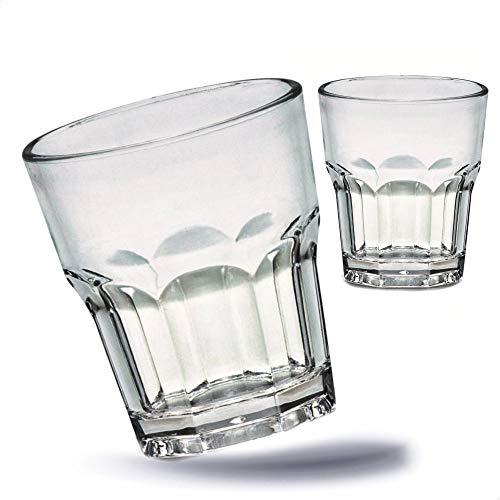 Kerafactum 2 bruchfeste Gläser Becher langlebige Wassergläser aus stabilem Kunststoff | Saft Whisky Glas Partybecher Whiskybecher | Trinkbecher Set in echter Glasoptik | stapelbar BPA Free Tumbler