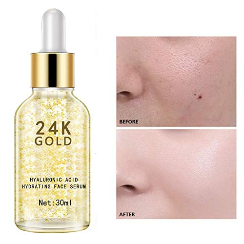 415W P5stfL - 24K Gold Face Serum, Anti-Aging Skin Repair, Topical Facial Serum with Hyaluronic Acid, Helps with Moisture, Firm and Whitening Skin (1 FL OZ)