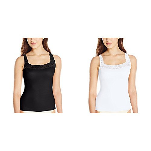 Vanity Fair Women's Vassarette Microfiber Camisole 17072 White Ice/Black Sable