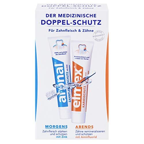 aronal und elmex Zahnpasta Doppelschutz, 2 x 12 ml - Zahncreme für Zahnfleisch und Zähne, schützt vor Karies, Reisegröße