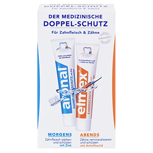 aronal und elmex Mini Doppel-Schutz Zahnpasta, 6er Pack (6 x 24 ml)