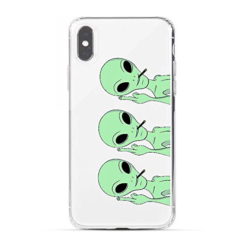 HUIYCUU Case Compatible with iPhone Xs for iPhone X Case,Cool Animal Design Slim Fit Soft TPU Protective Cover Funny Pattern Thin Clear Skin Novelty Bumper Back Shell for iPhone Xs,Triple Green Alien