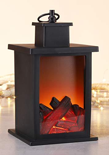 Kamaca - Lanterna a LED con effetto fiamma effetto fiamma, caminetto da tavolo, colore nero, funzionamento a batteria, con timer (25 x 14 x 14 cm)