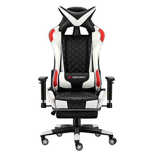JL Comfurni Gaming Chair Racing Computer Chair Office Desk Chair with Footrest High-Back Gaming Recliner Ergonomic Video Chair for adults PU Leather Swivel Esports Chair White & Red