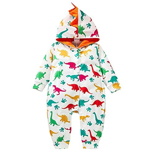 Mono unisex de manga larga para recién nacido, para bebés y niñas, con diseño de dinosaurios, de 0 a 24 meses, blanco, 24 meses