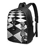 Mochila de ajedrez en blanco y negro, mochila de viaje con puerto de carga USB para hombres y mujeres de 17 pulgadas - negro - talla única