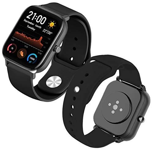Th-some Armband für Amazfit GTS Smartwatch, kompatibel mit Amazfit GTS/Amazfit Bip/Amazfit GTR, 42 mm, Silikonband, Schwarz