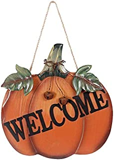 Wood Pumpkin Welcome Sign Harvest Fall Halloween Thanksgiving Hanging Wall Door Decoration
