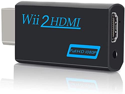 Wii a HDMI Adaptador 720P / 1080P Conversor de Video Puerto HDMI con Salida Audio 3.5mm Jack Soporta Todos los Modos de Visualización de Wii Compatible con NTSC 480i 480p PAL 576i (Black)
