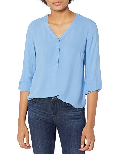 Amazon Essentials 3/4 Sleeve Button Popover Shirt Camisa, Azul Francés, L