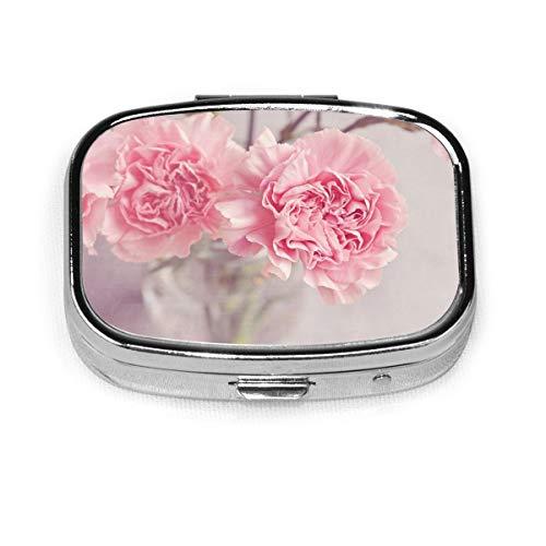 Pillendose aus Metall, tragbar, mit Nelken-Blumen, in einer Vase, für die tägliche Verwendung und auf Reisen.
