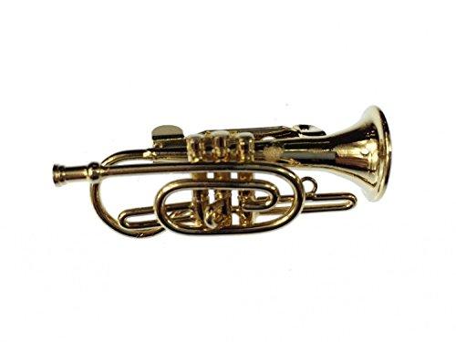Miniblings Kornett Brosche Flügelhorn Pin Anstecker +Box Trompete Gold Trompeter - Handmade Modeschmuck I Anstecknadel Button Pins