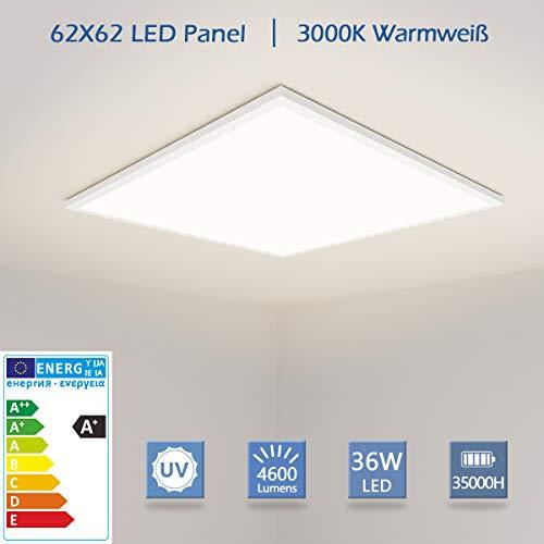 [PRO High Lumen]OUBO LED Panel 62x62cm Warmweiß / 36W / 4600lm /3000K / Weißrahmen Lampe dünn SLIM Ultraslim Deckenleuchte Pendelleuchte Wandleuchte Einbauleuchten, inkl. Netzteil